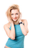 Portrait of a smiling beautiful blonde royalty free stock photography