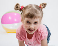 Portrait of a smiling beautiful girl. On white background Stock Images