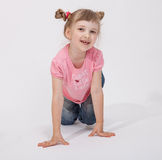 Portrait of a smiling beautiful girl. On white background Royalty Free Stock Photos
