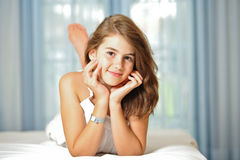 Portrait of smiling beautiful teen girl at home Royalty Free Stock Photo