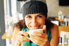 Portrait of smiling beautiful woman royalty free stock photo