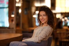Portrait of smiling beauty young woman stock photo