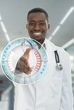 Portrait smiling black healthcare professional doctor with stethoscope Royalty Free Stock Images
