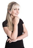 Portrait: smiling blond attractive business woman isolated over stock photography