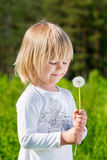 Smiling little boy looking at a dandelion Stock Images