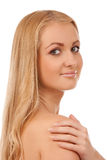 Portrait of smiling blond woman Stock Images