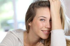 Portrait of smiling blond woman Royalty Free Stock Images