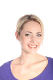 Portrait of Smiling Blonde Woman on White Royalty Free Stock Photography