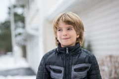 Portrait of a smiling boy with a blurred background royalty free stock photo