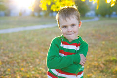 Portrait of a smiling boy of five outdoors Stock Image