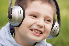 Portrait of smiling boy in headphones Royalty Free Stock Image