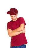 Portrait of smiling breakdancer isolated on white background Stock Photos