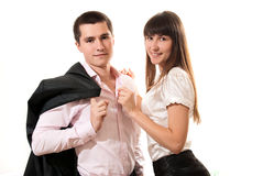 Portrait of smiling business couple Stock Photography
