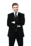 Portrait of smiling business man with arms crossed. Isolated over white background Royalty Free Stock Image