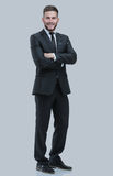 Portrait of a smiling business man.  on gray Royalty Free Stock Photo