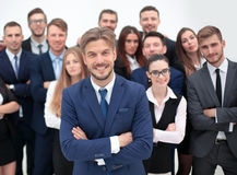 Portrait of smiling business people against white background Stock Photos