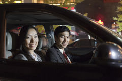 Portrait Smiling Business People In Car Stock Photography
