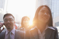 Portrait of smiling business people outdoors, Beijing Stock Photography