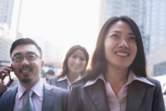 Portrait of smiling business people outdoors, Beijing Stock Images