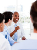 Portrait of smiling business team during a meeting Royalty Free Stock Photos