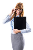 Portrait of smiling business woman with black paper folder Royalty Free Stock Photos