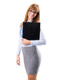 Portrait of smiling business woman with black paper folder Stock Photo