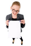 Portrait of smiling business woman with blank board Stock Images
