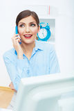 Portrait of smiling business woman call center ope Royalty Free Stock Image