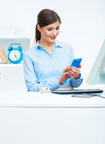 Portrait of smiling business woman call center ope Stock Image