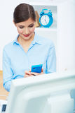Portrait of smiling business woman call center ope Royalty Free Stock Photography