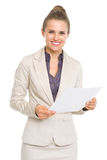 Portrait of smiling business woman with document Royalty Free Stock Images
