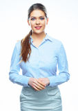 Portrait of smiling business woman dressed in blue shirt Royalty Free Stock Images
