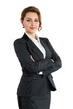 Portrait of smiling business woman with folded hands isolated on Stock Image