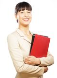 Portrait of smiling business woman with folders Stock Photography