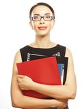 Portrait of smiling business woman with folders Royalty Free Stock Photos