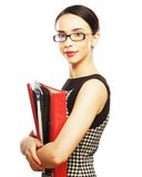Portrait of smiling business woman with folders Stock Image