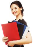 Portrait of smiling business woman with folders Royalty Free Stock Photography