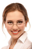 Portrait of smiling business woman in glasses Royalty Free Stock Image