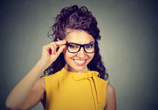 Portrait of a smiling business woman in glasses stock photography