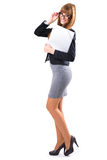 Portrait of smiling business woman with grey paper folder Stock Photography