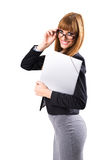 Portrait of smiling business woman with grey paper folder Royalty Free Stock Image