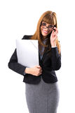 Portrait of smiling business woman with grey paper folder Royalty Free Stock Photography