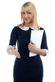 Portrait of smiling business woman and handshake Royalty Free Stock Photo
