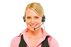 Portrait of smiling business woman with headset Stock Photo