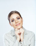Portrait of smiling business woman, isolated on white backgroun Stock Photo