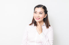 Portrait of smiling business woman, isolated on white background Royalty Free Stock Photo