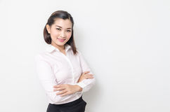 Portrait of smiling business woman, isolated on white background Royalty Free Stock Photos
