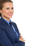 Portrait of smiling business woman looking on copy space Stock Images