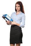 Portrait of smiling business woman with paper folder Royalty Free Stock Photo