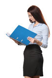 Portrait of smiling business woman with paper folder Stock Photo